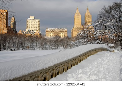 Central Park in Manhattan New York after snowstorm