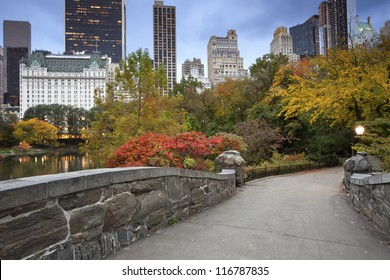 Central Park and Manhattan Skyline. Image of Central Park and Gapstow Bridge in New York City, USA in Autumn.