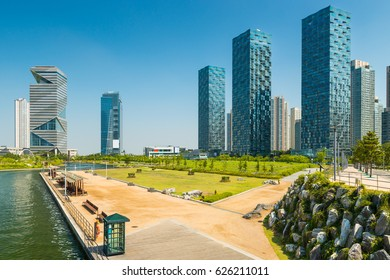 Central Park and the new high rise apartments of Songdo, South Korea.