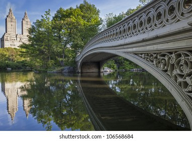 Central Park, New York City under the bow bridge in the early morning