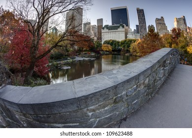 Central Park, New York City Gapstow bridge in autumn