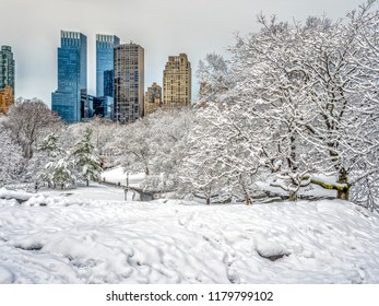 Central Park, New York City in winter at lake after snow storm