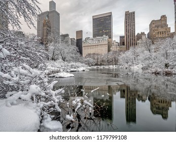 Central Park, New York City at lake in winter
