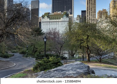 Central Park, New York City near the Plaza hotel in spring