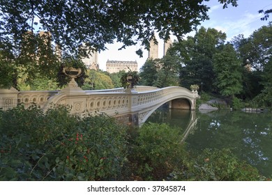 Central Park - New York City bow bridge early in the morning