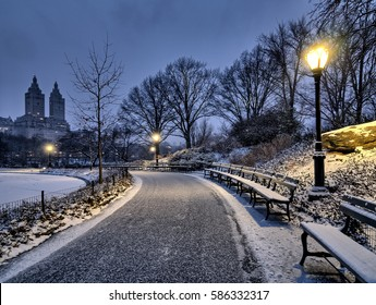 Central Park, New York City at night after snow storm