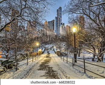 Central Park, New York City winter snow