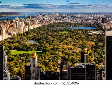 Central Park overview on an October morning with surrounding buildings