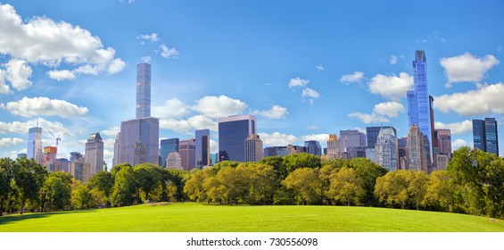 Central Park panorama and Manhattan skyscrapers in New York