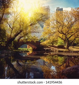 Central Park pond and bridge. New York, USA.