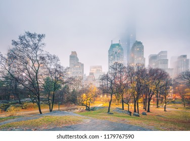 Central park at rainy morning, New York City, USA