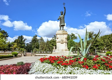 Central park with statue of stefan the great, Chisinau, Moldova, sunny day blue sky trees and flowers