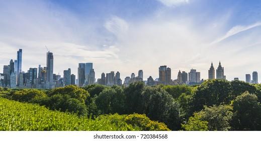 Central park,new york,usa. 09-01-17: central park with Manhattan skyline on the sunny day in summer season.