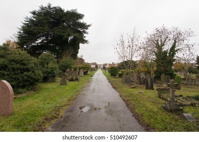 Central path in a cemetery.