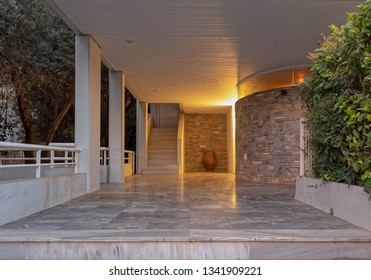 central perspective of elegant house entrance night view, Athens Greece