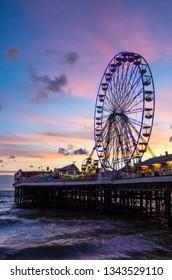 Central Pier Blackpool England Sunset