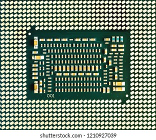 Central processing unit, chip CPU x64 many-core processor with hyper-threading, bottom part CPU, microelectronics background