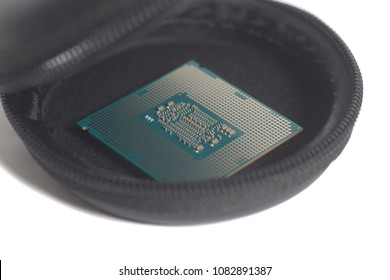 Central processing unit CPU processor microchip on the packaging box
