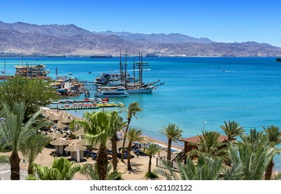 Central public beach in Eilat - famous resort and recreation city in Israel and Middle East