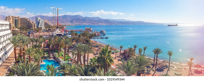 Central public beach and marina in Eilat - famous resort and recreation city in Israel. This serene location is a very popular tropical getaway for Israeli and European tourists