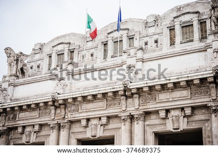 Central railway station (Stazione Centrale) in Milan, Italy