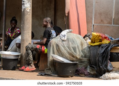 CENTRAL REGION, GHANA - Jan 17, 2017: Unidentified Ghanaian people talk about something in local village. People of Ghana suffer of poverty due to the bad economy