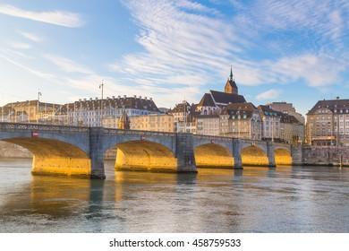 Central Rhine Bridge with Church in Basel, Switzerland