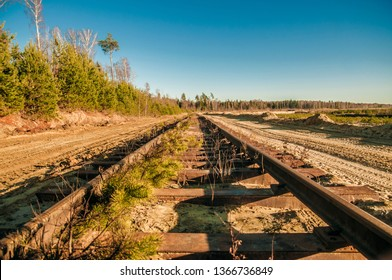Central Russia / Unused railway tracks, rusty rails. Abandoned forgotten place in forest, industrial landscape. Countryside background, sand mining area. Non-working quarry with broken railroad