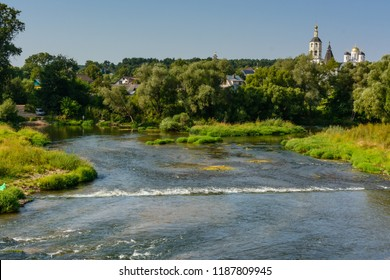 Central Russian landscape with a river and an Orthodox monastery in the background. Borovsk. The Kaluga region. Russia