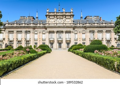 central section of the garden facade of the Royal Palace of La Granja de San Ildefonso, Spain