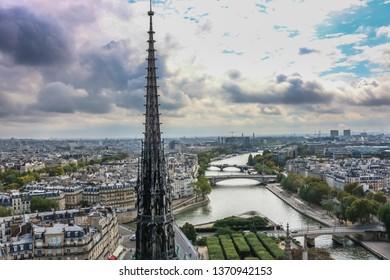 The central spire of the Cathedral of Notre Dame de Paris. The roof of the Cathedral of Notre Dame de Paris until the fire in April 2019.    Paris, France.