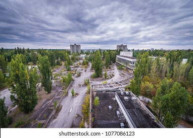 Central square in abandoned Pripyat city in Chernobyl Exclusion Zone, Ukraine