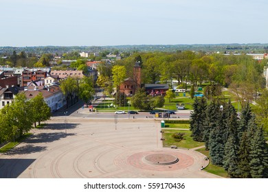 Central square aerial view. Daugavpils, Latvia.