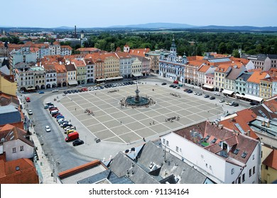 Central square of Ceske Budejovice with fountain Samson, Czech Republic