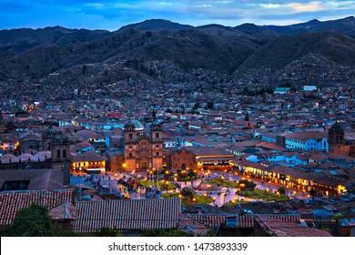 The central square in Cuzco, Plaza de Armas, Peru