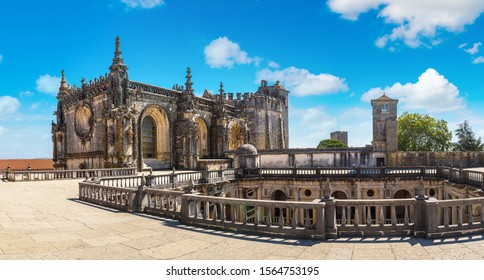 Central square of the inside medieval Templar castle in Tomar in a beautiful summer day, Portugal