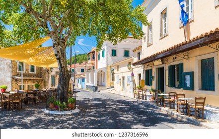 Central square of Lakones Village near Paleokastritsa, Corfu island, Greece
