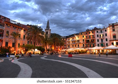 Central square in Lerici, Liguria, Italy