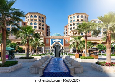 Central square in the Medina Centrale district on the Pearl in Doha, Qatar