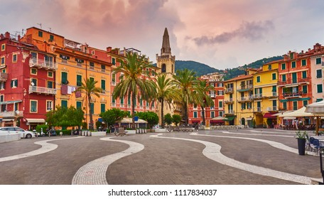 Central square (Piazza Mottino) Stormy Cloudy Weather Lerici, Liguria, Italy