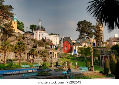 Central square in Portmeirion, Welsh village in an Italian style, built by sir Clough Williams-Ellis