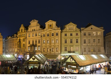 The Central square in Prague at night. It's the Central historical district of Prague.
