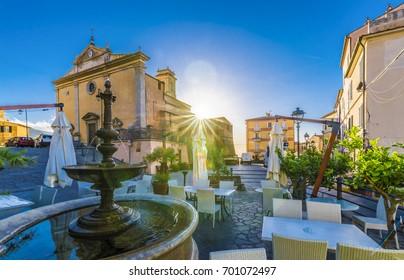 Central square of Rio Nell'Elba village, Elba Island, Tuscany, Italy.