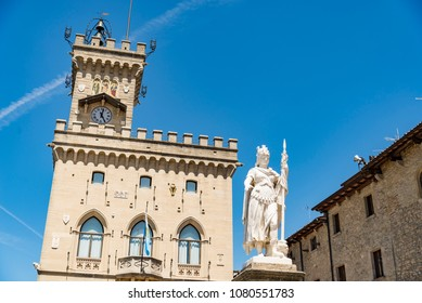 Central square of San Marino with the Public Palace and statue of Liberty in Sam Marino Republic