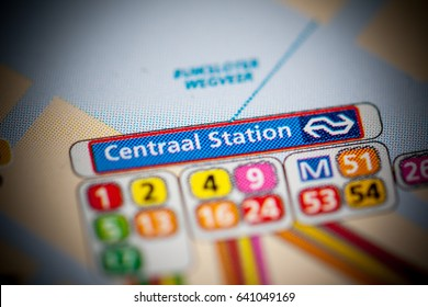 Central Station. Amsterdam Metro map.