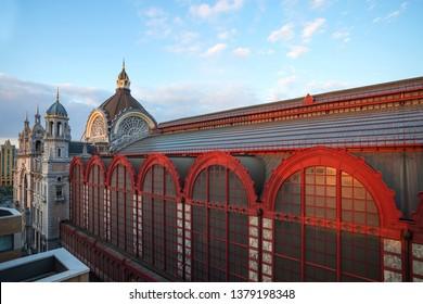 central station antwerp belgium at sundown