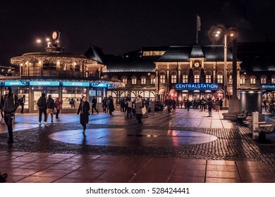 Central station in Gothenburg. Night shot with a lot of people and christmas lights. Gothenburg, Sweden, 2016-11-22