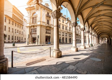 Central street with beautiful buildings in Turin city in Piedmont region in Italy