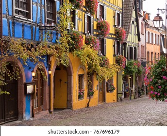 Central street of Riquewihr- one of the most beautiful villages in Alsace, France