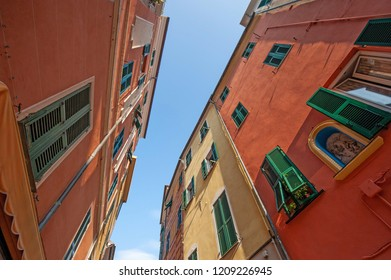 central streets of Celle Ligure picturesque Ligurian village